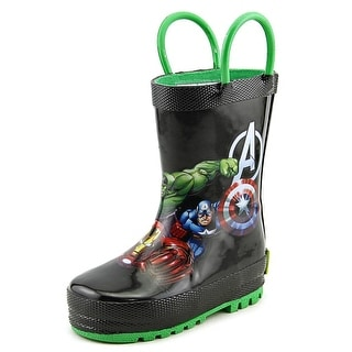 Western Chief Avengers Force Youth Round Toe Synthetic Black Rain Boot