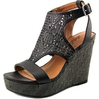 Lucky Brand Laffertie Open Toe Leather Wedge Sandal