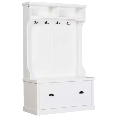 HOMCOM Hall Coat and Shoe Storage Hall Cabinet with Top and Bottom Storage, Metal Double Hooks and Bench, White