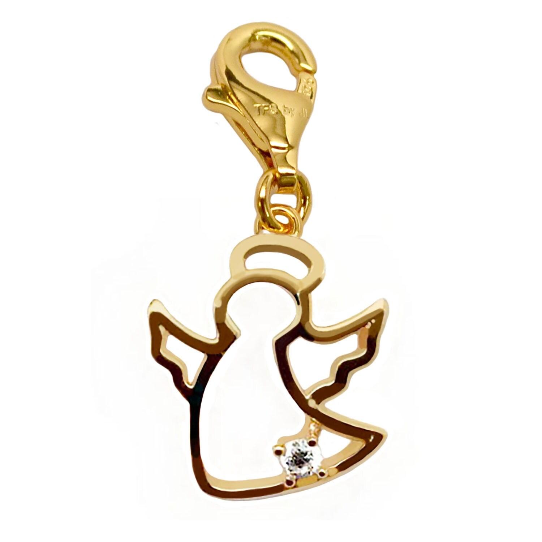 Julieta Jewelry Angel CZ Gold Sterling Silver Charm - Thumbnail 0