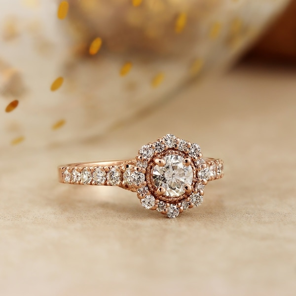 Auriya 14k Gold 1 1/4ctw Floral Vintage Halo Diamond Engagement Ring. Opens flyout.