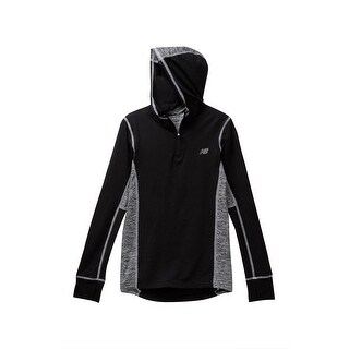 Balance Black Gray 10-12 Hooded Colorblock Performance Pullover