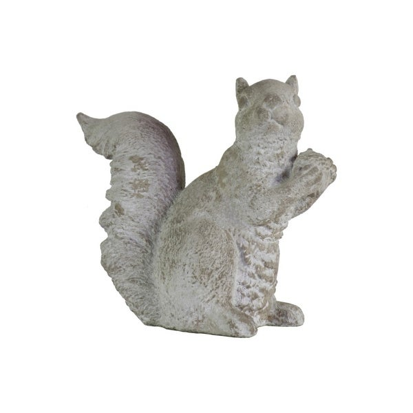 Cemented Squirrel Figurine with Hand over Hand, Large, Washed Gray