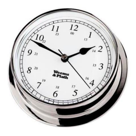 """8"""" Sliver and White Round Battery Operated Wall Clock"""