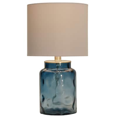 StyleCraft Blue Table Lamp - White Hardback Fabric Shade