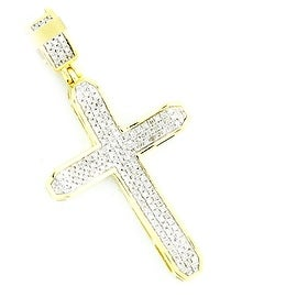 Diamond Cross Mens 10K Gold 40mm Tall 1/3cttw Diamonds( 0.33cttw) By MidwestJewellery - White