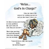 ''Relax, God's in Charge'' by Batteryman African American Art Print (20 x 16 in.)