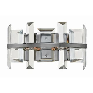 "Fredrick Ramond FR39212 Odette 2 Light 13"" Wide Wall Sconce with Emerald Cut Crystal Panels (2 options available)"