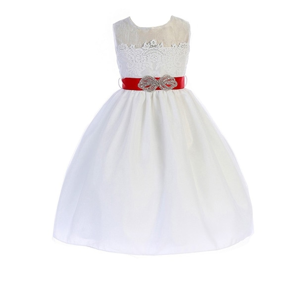 dadbab7665c Shop Crayon Kids Little Girls White Red Brooch Lace Flower Girl Dress - Free  Shipping Today - Overstock - 20103397