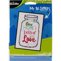 "My 1St Stitch Home Mason Jar Mini Counted Cross Stitch Kit-5""X7"" 14 Count"