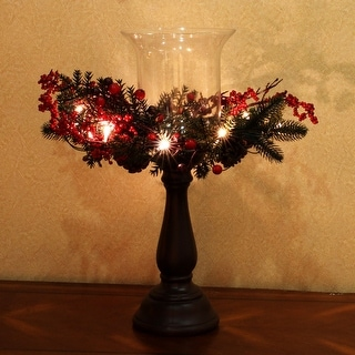 Kanstar Hurricane Centerpiece LED Candle Holder, battery operated for Christmas, Thanksgiving, Wedding and Party - Bronze