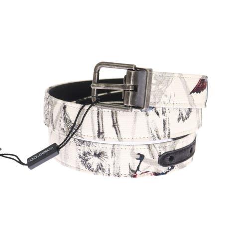 Dolce & Gabbana White Denim Bird Print Leather Belt