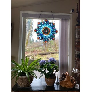 """River of Goods 24-inch Tiffany-style Stained Glass Peacock Star Window Panel - 24""""L x 0.25""""W x 24""""H"""
