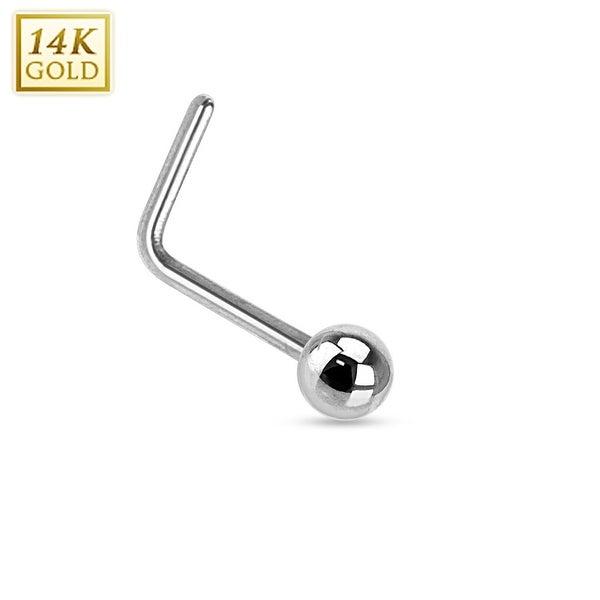 "14Kt White Gold Solid Ball L Bend Nose Ring - 20GA - 1/4"" Length (Sold Ind.)"