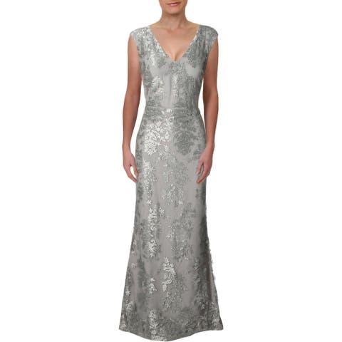 Lauren Ralph Lauren Womens Evening Dress Metallic Floral - Silver