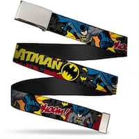 Blank Chrome  Buckle Batman In Action Batman Whoom! Red Skyline Webbing Web Belt