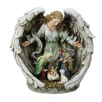 """11"""" Holy Family in Angel Nativity Table Top Christmas Figurine - beige"""