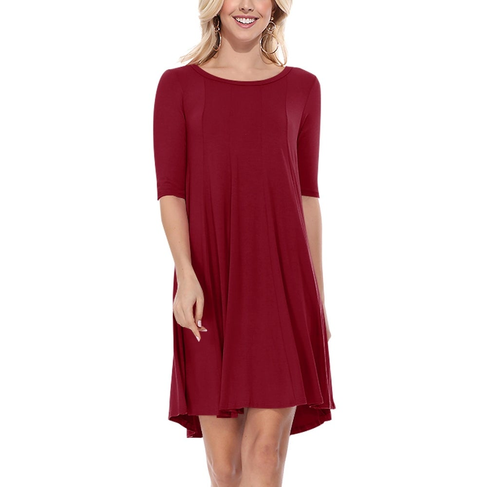 Womens Casual A-Line Solid Midi Dress