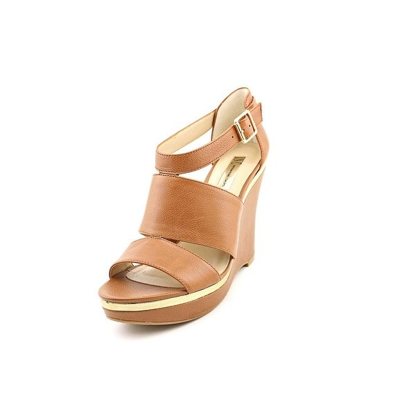 INC International Concepts Camie Women Open Toe Leather Brown Wedge Sandal