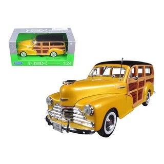 1948 Chevrolet Woody Wagon Fleetmaster Gold 1/24 Diecast Model Car by Welly