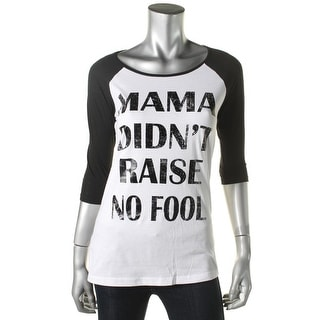 Pretty Rebellious Womens Juniors Printed Raglan Sleeves Casual Top