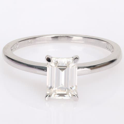 Miadora Sterling Silver 1ct TGW Octagon-cut Created Moissanite Solitaire Engagement Ring