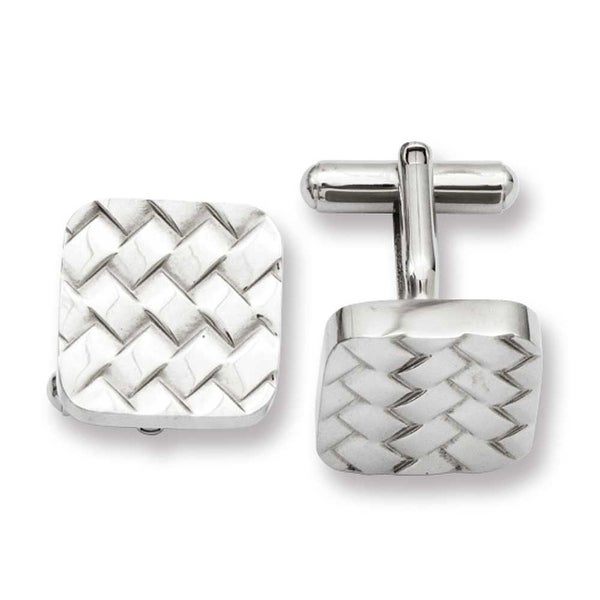 Stainless Steel Weave Design Cuff Links