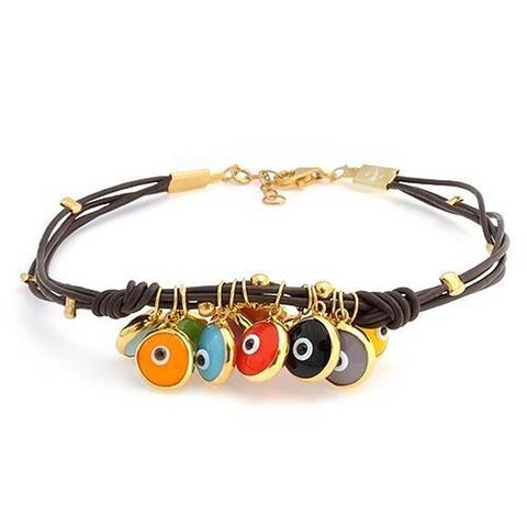 Evil Eye Charms Brown Leather Bracelet Gold Plated Sterling Silver