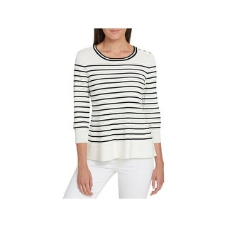 Tommy Hilfiger Womens Pullover Sweater Striped Peplum