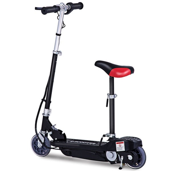 Gymax Folding Rechargeable Seated Electric Scooter Motorized Ride On Outdoor For Teens - Black. Opens flyout.