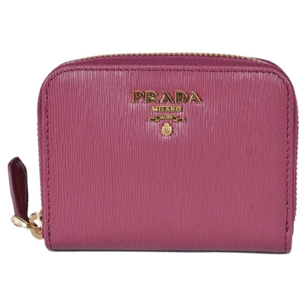 f0c7df5d806b Prada 1MM268 2EZZ Ibisco Pink Saffiano Leather Zip Around Coin Purse Wallet