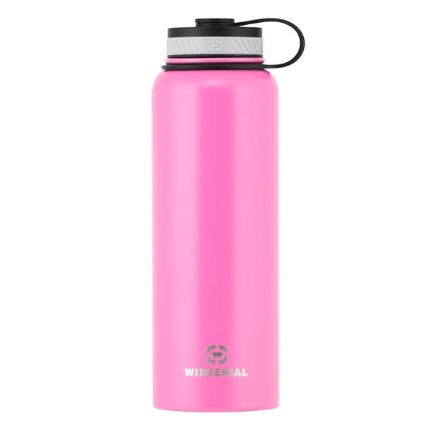 Winterial 40 oz Stainless Steel Insulated Double Walled Wide Mouth HOT & COLD Premium Water Bottle (Pink)