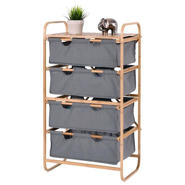 Superbe Costway 4 Large Sliding Drawer Bamboo Dresser Bins Storage Unit Organizer  Laundry Hamper   As Pic