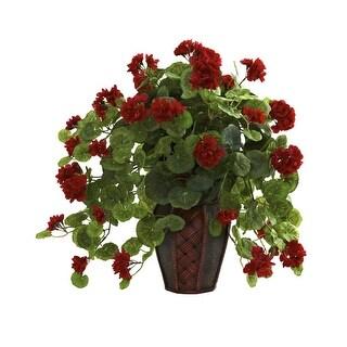 Nearly Natural Geranium with Decorative Planter