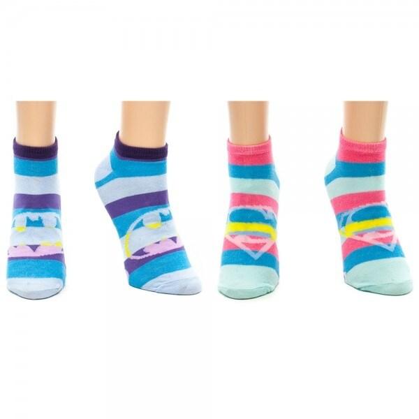 Supergirl Batman 2 Pair Pack Ankle Socks Set Stripes - Blue