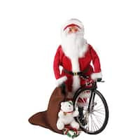 """13"""" Santa Claus with Old-Fashioned Penny-Farthing Unicycle Christmas Caroler Figure"""