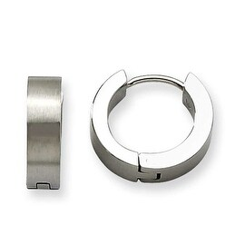 Chisel Stainless Steel Satin Round Hinged Hoop Earings