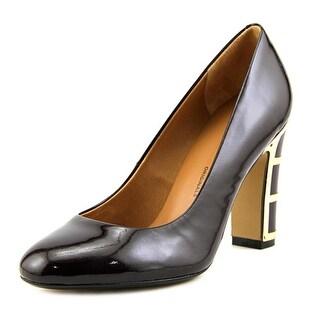 Nina Dashing Women Round Toe Patent Leather Burgundy Heels