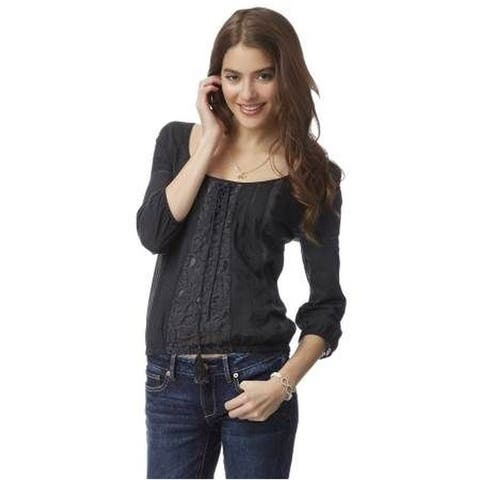 Aeropostale Womens Lace Peasant Blouse