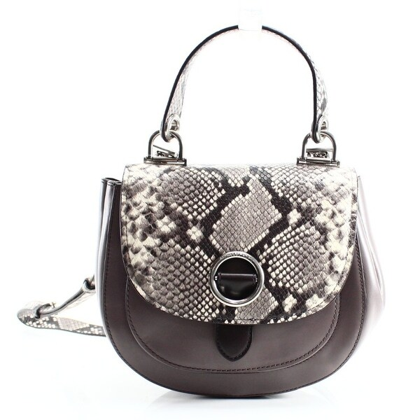 15a98435d439 ... get michael kors new gray leather medium isadore python messenger purse  63437 2cfbc ...