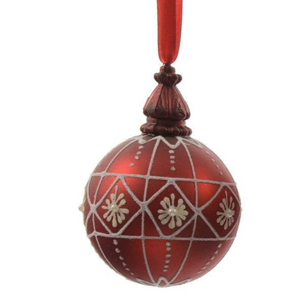 """Alpine Chic Red with White Decorative Geometric Design Glass Christmas Ball Ornament 3.25"""" (80mm)"""