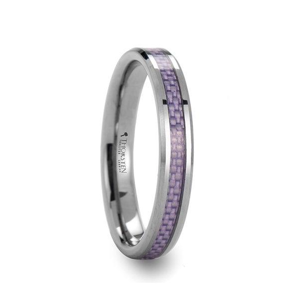 THORSTEN - IRIS Beveled Tungsten Wedding Band with Purple Carbon Fiber Inlay - 4mm