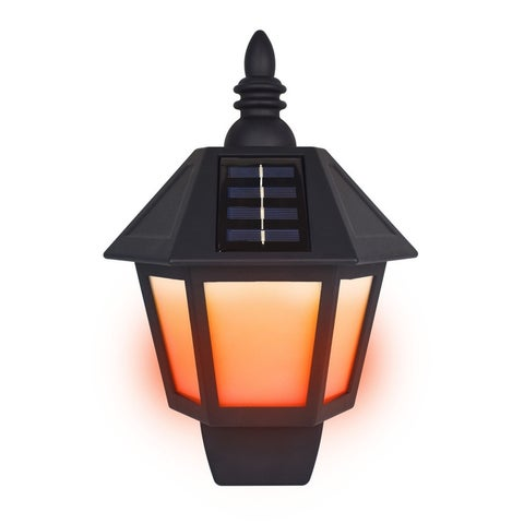 Ecothink 2-Pack Outdoor Solar Blazing Lights, LED Bulb Technology, 120 Lumen Outdoor Wall Flickering Lights - Lantern Design