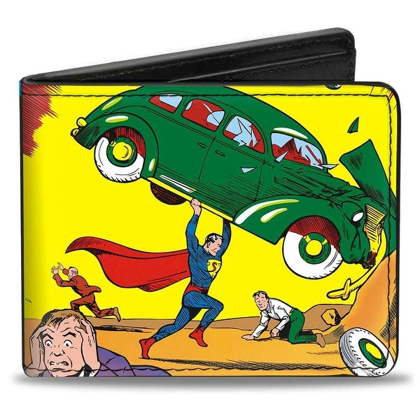 Classic Action Comics Issue #1 Superman Lifting Car Cover Pose Bi Fold Wallet - One Size Fits most