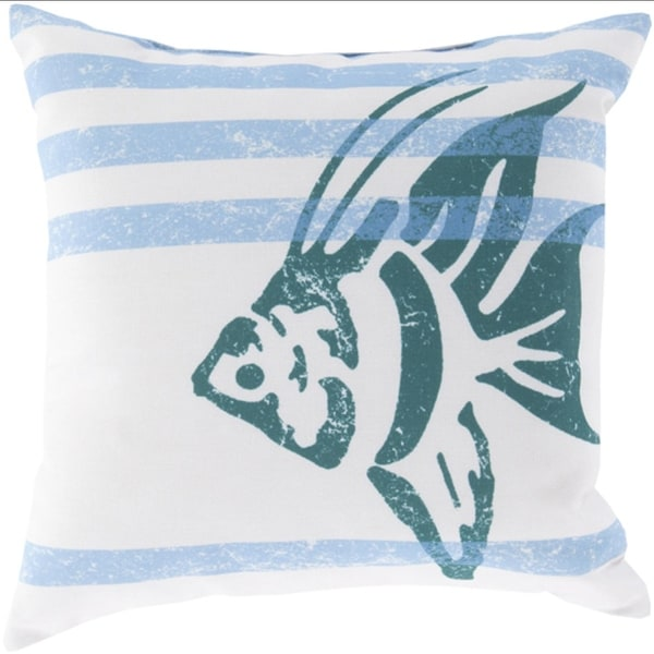 "18"" Light Gray and Teal Island Trails Decorative Throw Pillow"