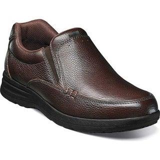 Nunn Bush Men's Cam Moc Toe Slip On Brown Tumbled Leather
