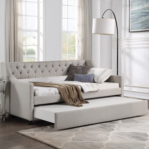 AOOLIVE Sofa Daybed with Trundle Upholstered Tufted Twin Bed, Beige