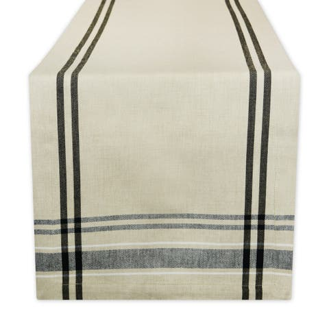 "14"" x 108"" Neutral Taupe and Black French Stripe Rectangular Table Runner - N/A"