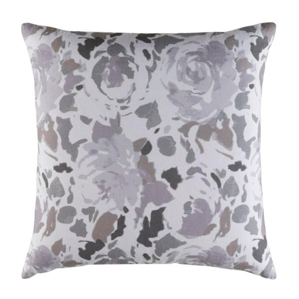 "18"" Blooming Barrage Lavender Purple and Koala Gray Woven Decorative Throw Pillow-Down Filler"