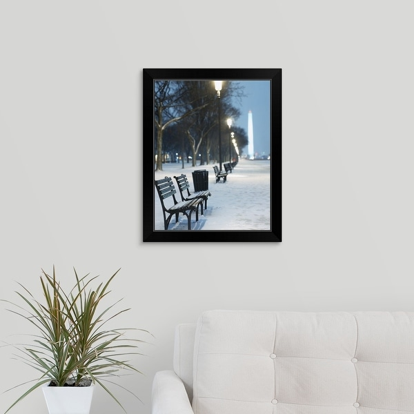 """""""Snow covered benches along a footpath, Washington Monument in background, Washington DC"""" Black Framed Print"""